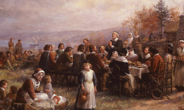 Thanksgiving at Plymouth, oil on canvas by Jennie Augusta Brownscombe, 1925, National Museum of Women in the Arts Pointedly, the anachronistic Plains Indians headdresses depicted in her 1914 painting, above, were not repeated in this, her 1925 painting of that event. (Public Domain)