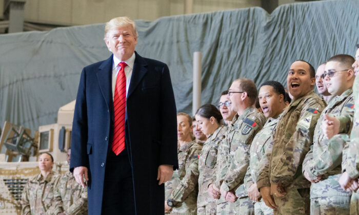 President Trump greets United States service members deployed to Bagram Airfield in Afghanistan Thursday, Nov. 28, 2019, during a surprise Thanksgiving visit. (Official White House Photo by Shealah Craighead)