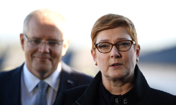 Prime Minister Scott Morrison with Senator Marise Payne (R) speak to media in Sydney, Australia on May 13, 2019. (Tracey Nearmy/Getty Images)