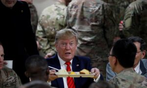 Trump Enjoys Belated Thanksgiving Dinner After Visiting Troops in Afghanistan