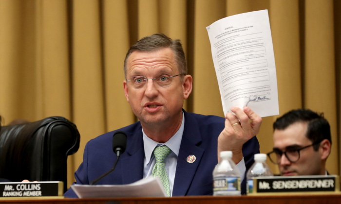 Judiciary Committee ranking member Rep. Doug Collins (R-GA.) delivers remarks during a mark-up hearing during a mark-up hearing where members may vote to hold Attorney General William Barr in contempt of Congress for not providing an un-redacted copy of special prosecutor Robert Mueller's report in the Rayburn House Office Building on Capitol Hill in Washington on May 8, 2019. (Chip Somodevilla/Getty Images)