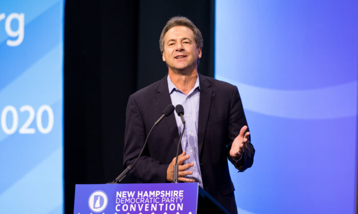 Democratic presidential candidate, Montana Gov. Steve Bullock speaks during the New Hampshire Democratic Party Convention at the SNHU Arena in Manchester, New Hampshire, on Sept. 7, 2019. (Scott Eisen/Getty Images)