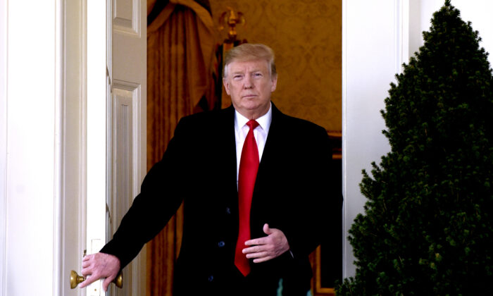 President Donald Trump leaves the Oval Office to make a statement announcing that a deal has been reached to reopen the government through Feb. 15 during an event in the Rose Garden of the White House on Jan. 25, 2019. (Olivier Douliery-Pool/Getty Images)