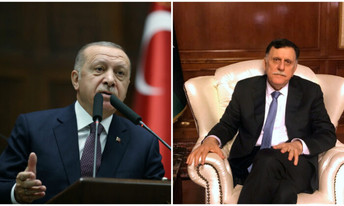 (L) Turkish President Tayyip Erdogan addresses lawmakers from his ruling AK Party during a meeting at the parliament in Ankara, Turkey, November 26, 2019. (Presidential Press Office/Handout/Reuters/File), (R) Libya's internationally recognized Prime Minister Fayez al-Serraj in an interview at his office in Tripoli, Libya June 16, 2019. (Ulf Laessing/Reuters/File)