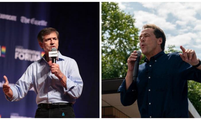 (L) Democratic presidential candidate and former Pennsylvania congressman Joe Sestak speaks at a LGBTQ presidential forum at Coe College's Sinclair Auditorium in Cedar Rapids, Iowa, on Sept. 20, 2019. (Scott Olson/Getty Images) (R) Democratic presidential hopeful Montana Gov. Steve Bullock speaks at the Des Moines Register Political Soapbox at the Iowa State Fair in Des Moines, Iowa, on Aug. 8, 2019. (Alex Edelman/AFP via Getty Images)