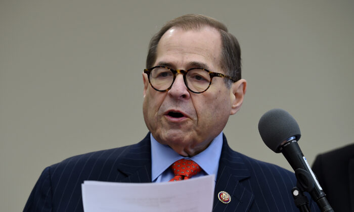 House Judiciary Chairman Jerrold Nadler (D-N.Y.) speaks during a news conference, on Capitol Hill in Washington on Nov. 19, 2019. (Olivier Douliery/AFP via Getty Images)