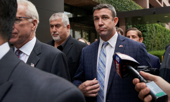 Rep. Duncan Hunter (R-Calif.) leaves federal court after pleading guilty to misusing campaign funds, in San Diego, California on Dec. 3, 2019.  (Mike Blake/Reuters)