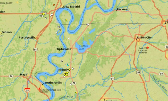 A series of 16 back-to-back earthquakes with a magnitude of up to 2.1 rocked a small town in Tennessee in the space of just three days. (Courtesy of U.S. Geological Survey)