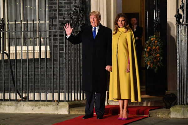 NATO Leaders Summit Takes Place In The UK. President Donald Trump and First Lady Melania Trump arrive at number 10 Downing Street for a reception on December 3, 2019 in London, England. (Leon Neal/Getty Images)