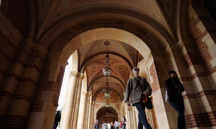 Students at UCLA's Royce Hall in Los Angeles on April 23, 2012. 