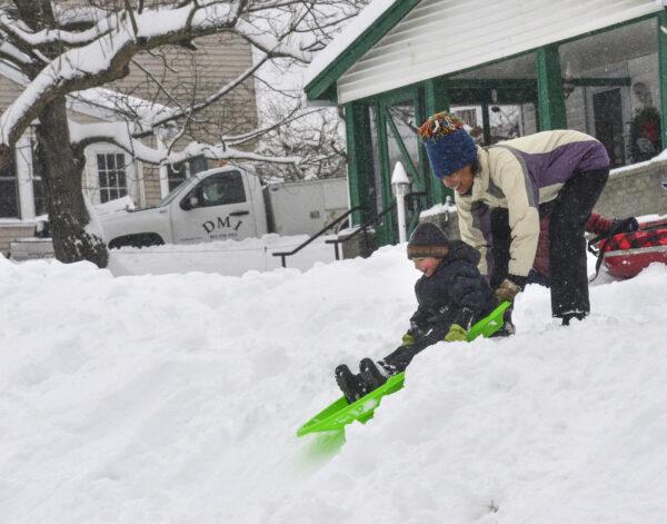 Wintry Weather Snow slide