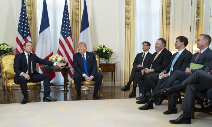 President Donald Trump participates in an expanded bilateral meeting with President Emmanuel Macron of France at Winfield House in London on Dec. 3, 2019. (Official White House Photo by Shealah Craighead)