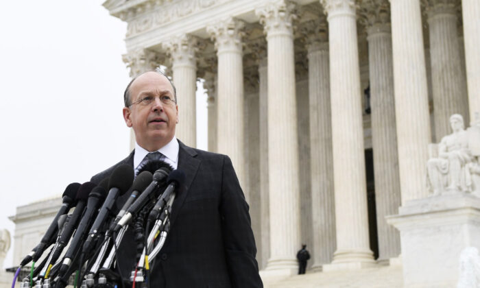 Attorney Paul Clement makes a statement outside of the Supreme Court in Washington, on Dec. 2, 2019. (Susan Walsh/AP)