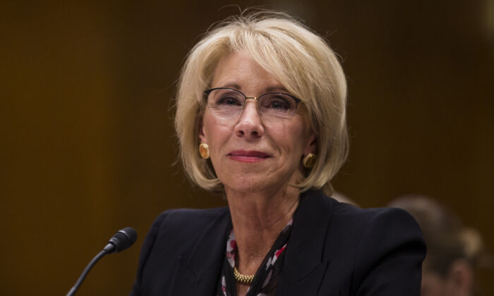 Education Secretary Betsy DeVos testifies during a Senate Committee discussing proposed budget estimates and justification for FY2020 for the Education Department on March 28, 2019. (Zach Gibson/Getty Images)