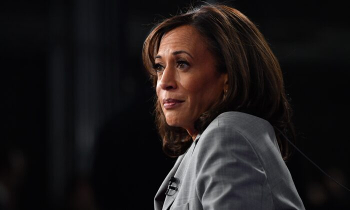 Sen. Kamala Harris (D-Calif.) speaks after the Democratic presidential debate in Atlanta on Nov. 20, 2019. (Nicholas Kamm/AFP via Getty Images)