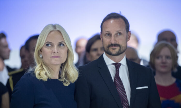 Crown Prince Haakon and Crown Princess Mette-Marit of Norway visit an exhibition in Frankfurt, Germany, on Oct. 15, 2019. (Thomas Lohnes/Getty Images)