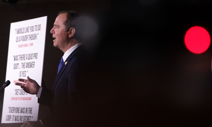House Intelligence Committee Chairman Rep. Adam Schiff, a California Democrat, speaks during a news conference on the Trump impeachment inquiry on Capitol Hill in Washington on Dec. 3, 2019. (Alex Wong/Getty Images)