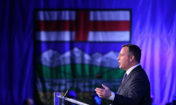 Alberta Premier Jason Kenney delivers his address to the Alberta United Conservative Party annual general meeting in Calgary on Nov. 30, 2019. (The Canadian Press/Dave Chidley)