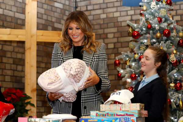 U.S. First Lady Melania Trump joins local school students