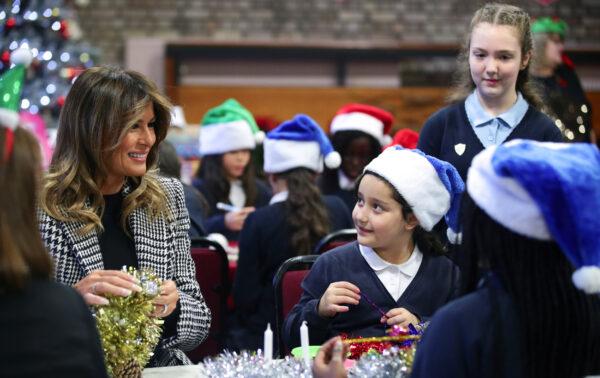 U.S. First Lady Melania Trump prepares Christmas decorations