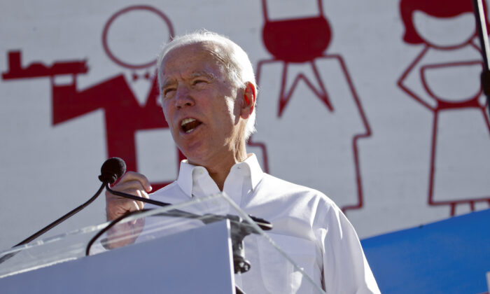Democratic candidate for president Joe Biden speaks to supporters during a Nevada Democratic Party rally at the Culinary Workers Union Local 226 in downtown Las Vegas in this Oct. 20, 2018, file photo. (Christopher DeVargas/Las Vegas Sun via AP, File)