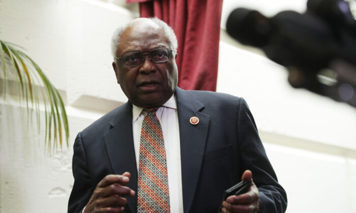 House Majority Whip Rep. Jim Clyburn (D-S.C.) leaves a House Democrat meeting in Washington on May 22, 2019. (Alex Wong/Getty Images)