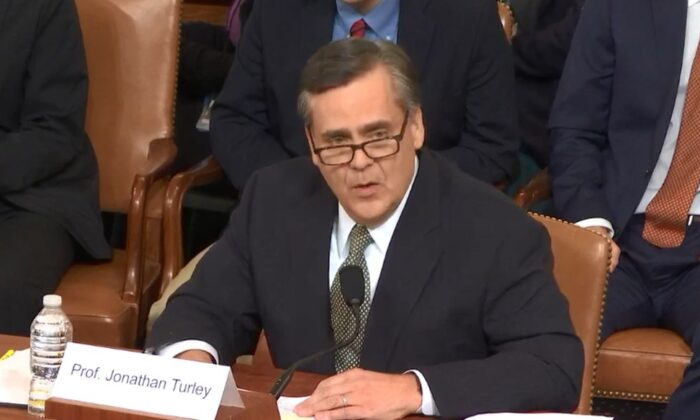 Johnathan Turley, a law professor at George Washington University, offered testimony during the House Judiciary Committee's hearing in Washington on Dec. 4, 2019. (House Judiciary)