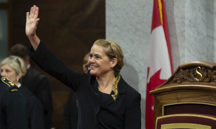 Governor General Julie Payette waves to the gallery as she waits for members of Parliament to arrive for a royal ascent ceremony in the Senate Chamber in Ottawa on June 21, 2019. Today's throne speech will be read by Payette in the Senate chamber. (The Canadian Press/Adrian Wyld)