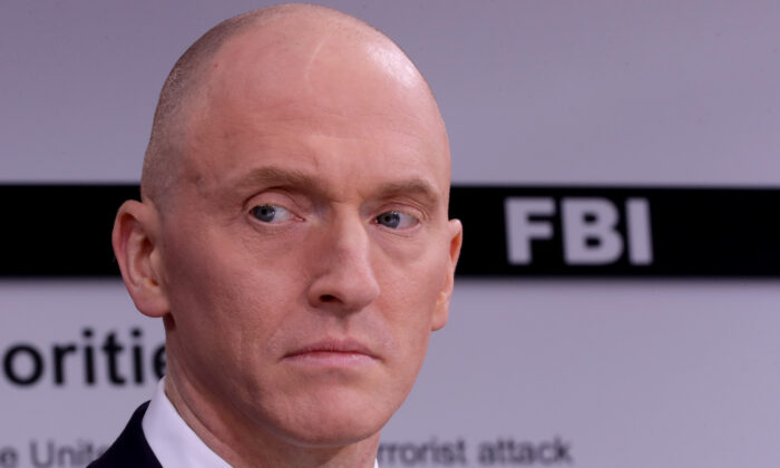 Carter Page, who worked for the Trump campaign, participates in a discussion on 'politicization of DOJ and the intelligence community in their efforts to undermine the president' hosted by Judicial Watch on May 29, 2019. (Chip Somodevilla/Getty Images)