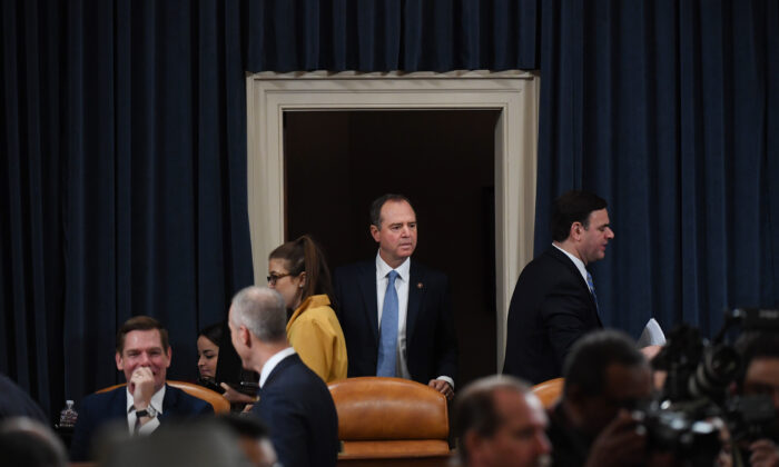 Chair Rep. Adam Schiff (D-CA) arrives before testimony by Fiona Hill, the National Security Council's former senior director for Europe and Russia, and David Holmes, an official from the American Embassy in Ukraine, before the House Intelligence Committee in the Longworth House Office Building on Capitol Hill November 21, 2019 in Washington, DC. Matt McClain-Pool/Getty Images
