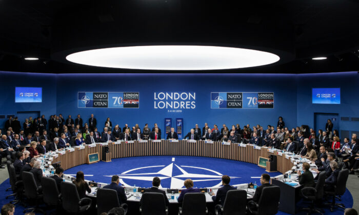 NATO leaders attend the plenary session of the NATO summit at the Grove Hotel in Watford, England on Dec. 4, 2019 . (Dan Kitwood/Getty Images)