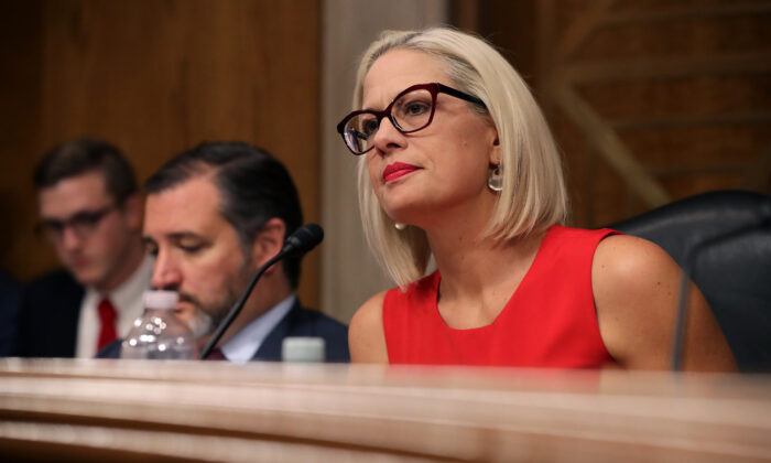 Sen. Kyrsten Sinema during a hearing in the Dirksen Senate Office Building on Capitol Hill in Washington on May 14, 2019. (Chip Somodevilla/Getty Images)
