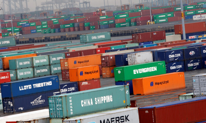 Shipping containers are seen at the Port Newark Container Terminal in Newark, New Jersey, on July 2, 2009. (Reuters/Mike Segar)