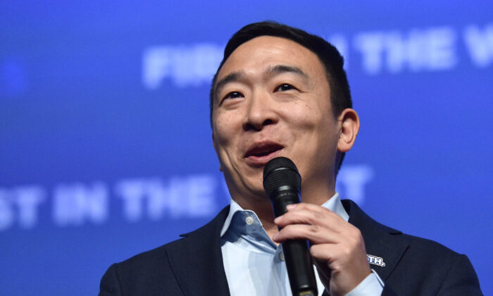 """Democratic presidential candidate Andrew Yang speaks during the Nevada Democrats' """"First in the West"""" event at Bellagio Resort & Casino in Las Vegas, Nevada on Nov. 17, 2019. (David Becker/Getty Images)"""