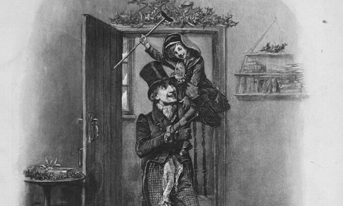 "Bob Cratchit carrying Tiny Tim on his shoulders. A scene from ""A Christmas Carol"" by Charles Dickens, circa 1844. Illustration by Fred Barnard (Hulton Archive/Getty Images)"
