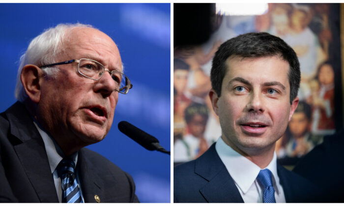 "L: Democratic presidential hopeful Sen. Bernie Sanders (I-Vt.) speaks on stage at ""First in the West"" event in Las Vegas, Nevada on Nov. 17, 2019. (Bridget Bennett/AFP via Getty Images) R: South Bend Mayor Democratic presidential candidate, Pete Buttigieg, talks to the press after a Sunday morning service at Greenleaf Christian Church in Goldsboro, North Carolina on Dec. 1, 2019. (Logan Cyrus/AFP via Getty Images)"