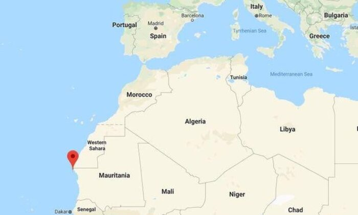 A Google Map shows the location of the northern Mauritanian city of Nouadhibou, marked with a red pin, on Africa's west coast. A boat carrying migrants from Gambia capsized off Nouadhibou on December 5, 2019, leaving scores dead. (Google Maps)