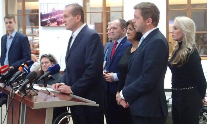 KDU-ČSL deputy Vít Kaňkovský speaks at a press conference in the Chamber of Deputies of the Czech Republic, on Nov. 28  2019. (Milan Kajinek/The Epoch Times)
