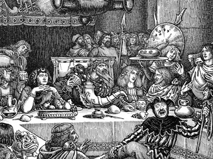 "Medieval merry making at Christmas.  A detail from 'Every two had dishes twelve' from ""Idylls of the King,""1898, by George Woolliscroft Rhead and Louis Rhead. The British Library. (Public Domain)"