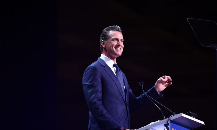 California Governor Gavin Newsom speaks during the 2019 California Democratic Party State Convention at Moscone Center in San Francisco on June 1, 2019. (Josh Edelson/AFP via Getty Images)