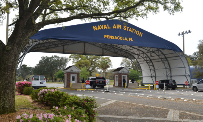 The main gate at Naval Air Station Pensacola is seen on Navy Boulevard in Pensacola, Fla., on March 16, 2016. (U.S. Navy/Patrick Nichols/Handout via Reuters)