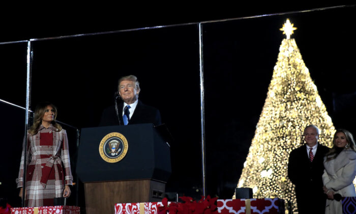 President Donald Trump and First Lady Melania Trump attend the National Christmas Tree lighting ceremony at the Ellipse near the White House in Washington, on Dec. 5, 2019. (Manuel Balce Ceneta/AP Photo)