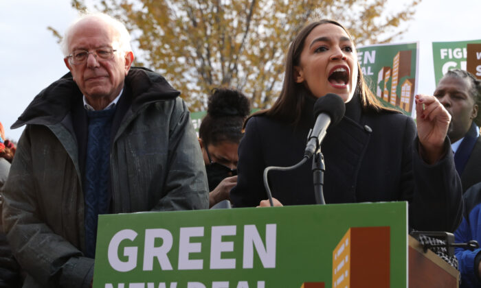 Democratic presidential candidate Sen. Bernie Sanders (I-Vt.), left, and Rep. Alexandria Ocasio-Cortez (D-N.Y.) hold a news conference to introduce legislation to transform public housing as part of their Green New Deal proposal outside the U.S. Capitol in Washington on Nov. 14, 2019. (Chip Somodevilla/Getty Images)