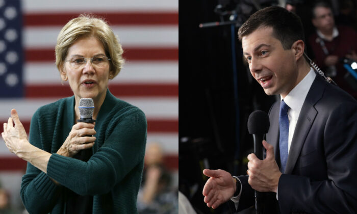 Democratic presidential candidate Sen. Elizabeth Warren (D-Mass.), left, gestures as she speaks during a campaign stop in Manchester, N.H. on Nov. 23, 2019. (AP Photo/Mary Schwalm) South Bend Mayor Pete Buttigieg speaks to the media after the Democratic Presidential Debate at Tyler Perry Studios in Atlanta, Georgia on Nov. 20, 2019. (Alex Wong/Getty Images)