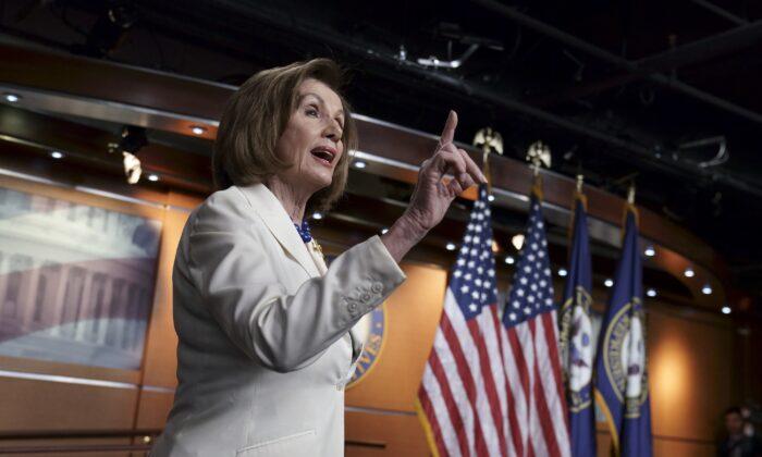 House Speaker Nancy Pelosi (D-Calif.) speaks to reporters in Washington on Dec. 5, 2019. (J. Scott Applewhite/AP Photo)
