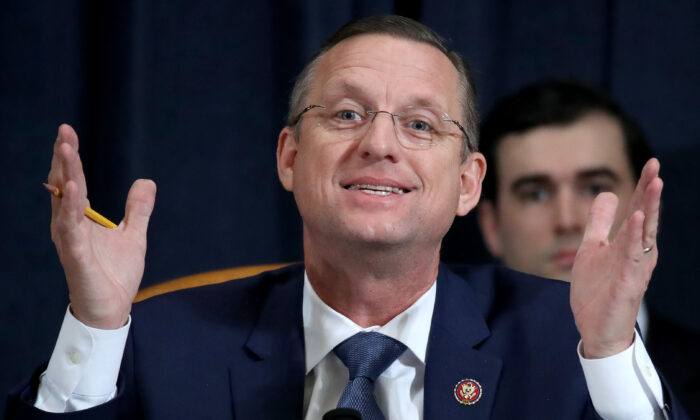 Rep. Doug Collins (R-Ga.), ranking member of the House Judiciary Committee, questions constitutional scholars during testimony before the committee in the Longworth House Office Building on Capitol Hill in Washington on Dec. 4, 2019. (Drew Angerer/Pool/AFP via Getty Images)