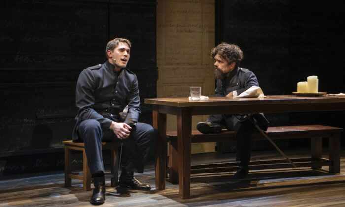 """Handsome Christian (Blake Jenner, L) loves the same woman as Cyrano (Peter Dinklage) does, in the musical remake """"Cyrano,"""" of the classic """"Cyrano de Bergerac."""" (Monique Carboni)"""