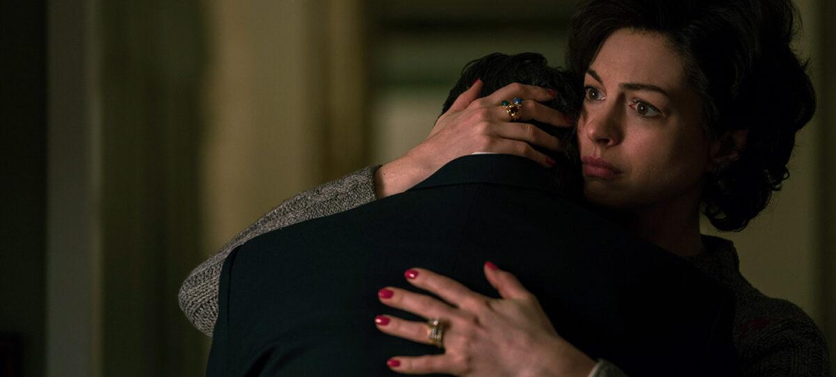 man and wife hug
