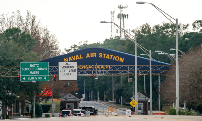 A general view of the atmosphere at the Pensacola Naval Air Station in Pensacola, Fla., following a shooting on Dec. 6, 2019. (Josh Brasted/Getty Images)