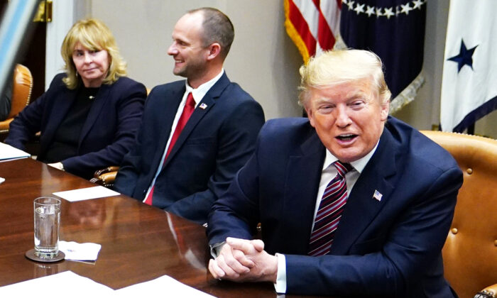 President Donald Trump takes part in a round table discussion on business and red tape reduction in the Roosevelt Room of the White House on Dec. 6, 2019. (Mandel Ngan/AFP via Getty Images)